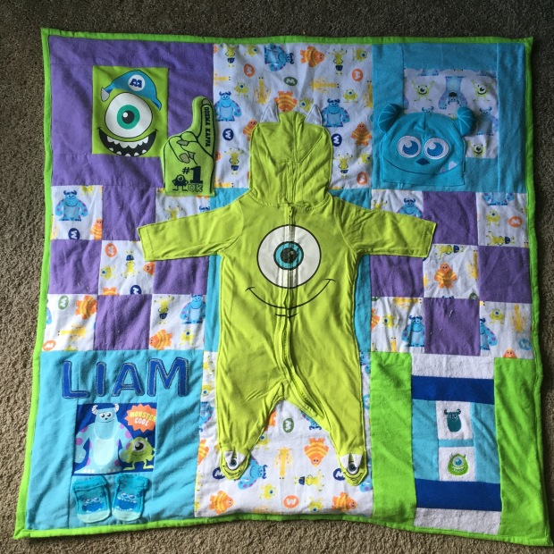 Baby monster s inc quilt small memory quilt for Baby monster fabric